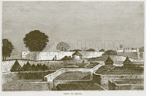View in Segou. Illustration from Illustrated Travels edited by HW Bates (Cassell, c 1880).
