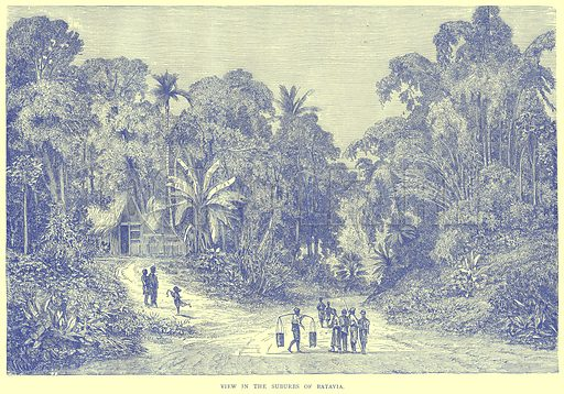 View in the Suburbs of Batavia. Illustration from Illustrated Travels edited by H W Bates (Cassell, c 1880).
