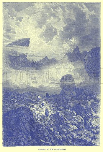 Passage of the Cordilleras. Illustration from Illustrated Travels edited by H W Bates (Cassell, c 1880).