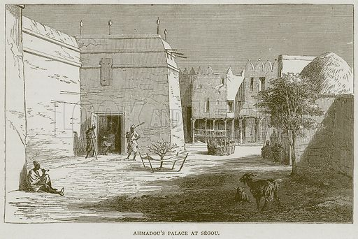 Ahmadou's Palace at Segou. Illustration from Illustrated Travels edited by HW Bates (Cassell, c 1880).
