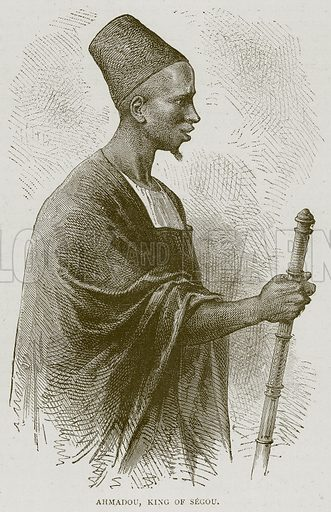 Ahmadou, King of Segou. Illustration from Illustrated Travels edited by H W Bates (Cassell, c 1880).