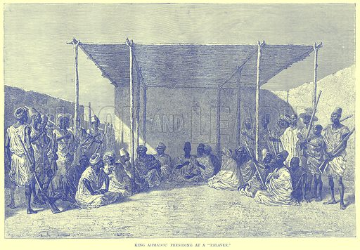 """King Ahmadou Presiding at a """"Palaver."""" Illustration from Illustrated Travels edited by H W Bates (Cassell, c 1880)."""