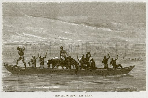 Travelling down the Niger. Illustration from Illustrated Travels edited by H W Bates (Cassell, c 1880).