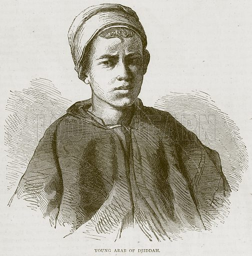 Young Arab of Djiddah. Illustration from Illustrated Travels edited by H W Bates (Cassell, c 1880).