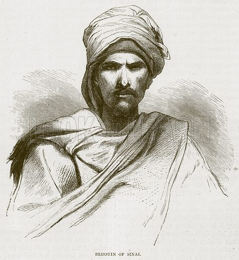 Bedouin of Sinai. Illustration from Illustrated Travels edited by H W Bates (Cassell, c 1880).