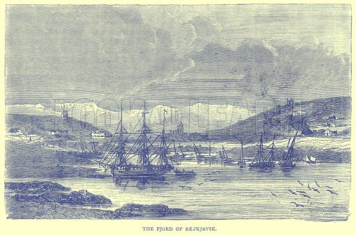 The Fjord of Reykjavik. Illustration from Illustrated Travels edited by H W Bates (Cassell, c 1880).
