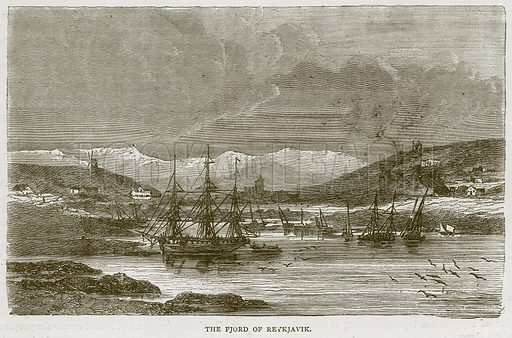 The Fjord of Reykjavik. Illustration from Illustrated Travels edited by HW Bates (Cassell, c 1880).