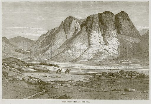 View near Moilah, Red Sea. Illustration from Illustrated Travels edited by H W Bates (Cassell, c 1880).
