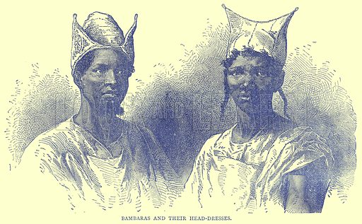 Bambaras and their Head-Dresses. Illustration from Illustrated Travels edited by H W Bates (Cassell, c 1880).