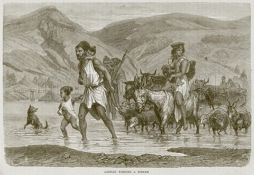 Kabyles Fording a Stream. Illustration from Illustrated Travels edited by H W Bates (Cassell, c 1880).