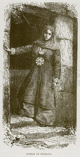 Woman of Bokhara. Illustration from Illustrated Travels edited by H W Bates (Cassell, c 1880).