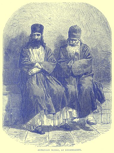 Armenian Monks, at Etchmiadzin. Illustration from Illustrated Travels edited by H W Bates (Cassell, c 1880).