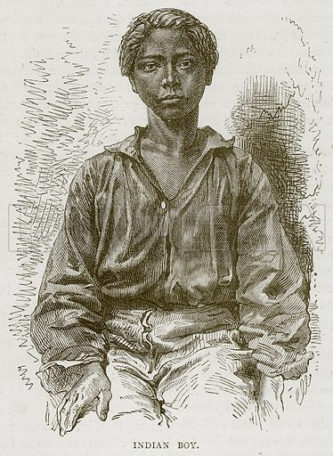 Indian Boy. Illustration from Illustrated Travels edited by H W Bates (Cassell, c 1880).