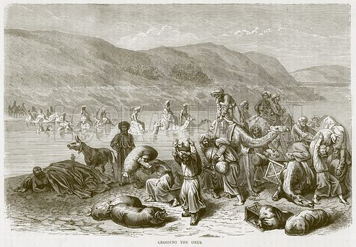 Crossing the Oxus. Illustration from Illustrated Travels edited by H W Bates (Cassell, c 1880).