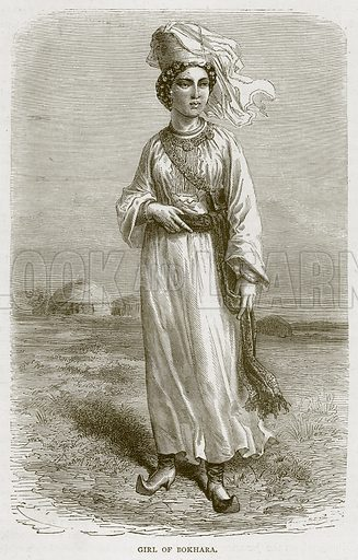 Girl of Bokhara. Illustration from Illustrated Travels edited by H W Bates (Cassell, c 1880).
