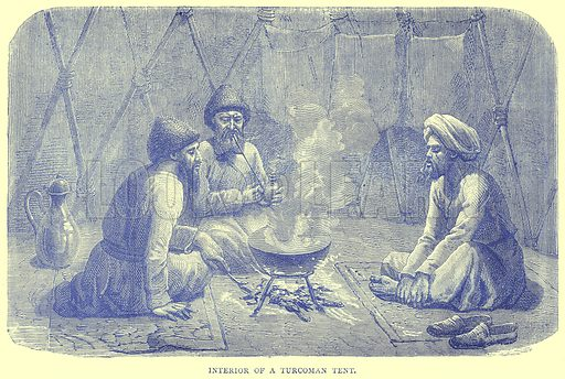 Interior of a Turcoman Tent. Illustration from Illustrated Travels edited by H W Bates (Cassell, c 1880).