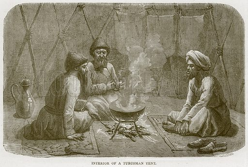 Interior of a Turcoman Tent. Illustration from Illustrated Travels edited by HW Bates (Cassell, c 1880).