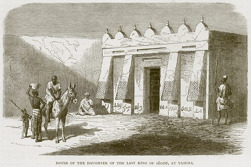 House of The Daughter of the last King of Segou, at Yamina. Illustration from Illustrated Travels edited by H W Bates (Cassell, c 1880).