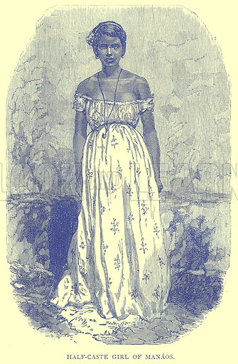 Half-Caste Girl of Manaos. Illustration from Illustrated Travels edited by H W Bates (Cassell, c 1880).