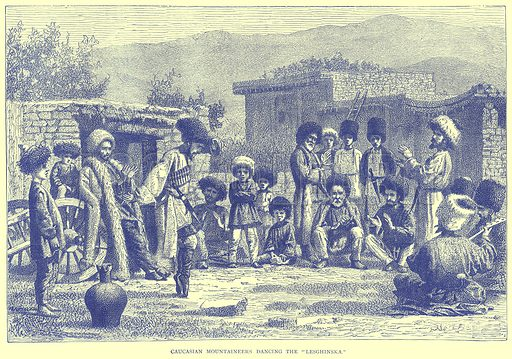 "Caucasian Mountaineers Dancing the ""Lesghinska."" Illustration from Illustrated Travels edited by H W Bates (Cassell, c 1880)."