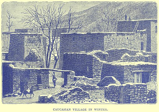 Caucasian Village in Winter. Illustration from Illustrated Travels edited by H W Bates (Cassell, c 1880).