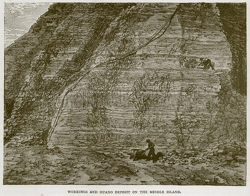 Workings and Guano Deposit on the Middle Island. Illustration from Illustrated Travels edited by H W Bates (Cassell, c 1880).