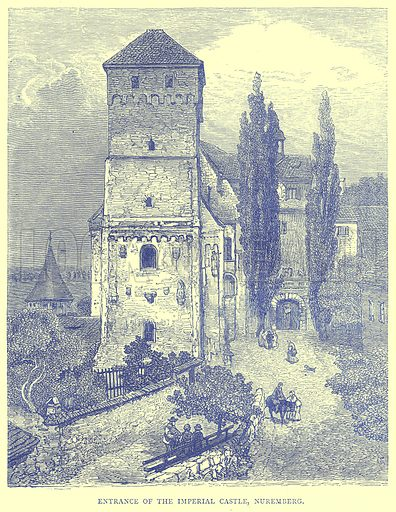 Entrance of the Imperial Castle, Nuremberg. Illustration from Illustrated Travels edited by H W Bates (Cassell, c 1880).