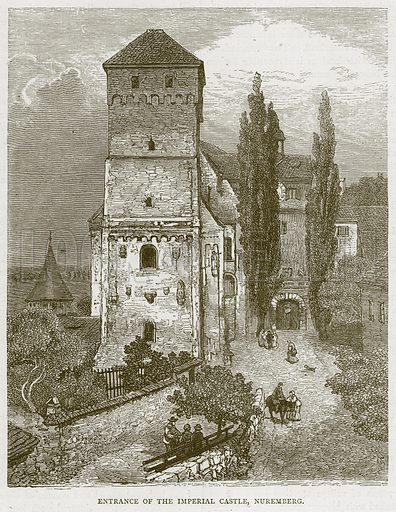 Entrance of the Imperial Castle, Nuremberg. Illustration from Illustrated Travels edited by HW Bates (Cassell, c 1880).
