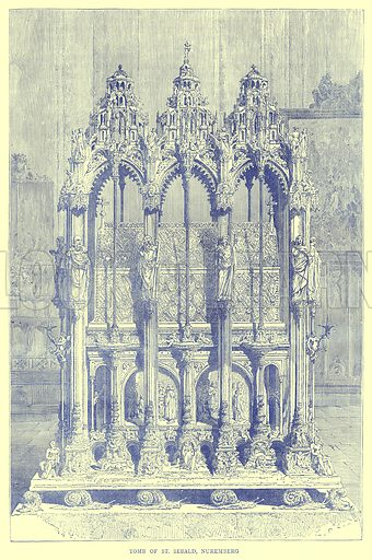 Tomb of St. Sebald, Nuremberg. Illustration from Illustrated Travels edited by H W Bates (Cassell, c 1880).