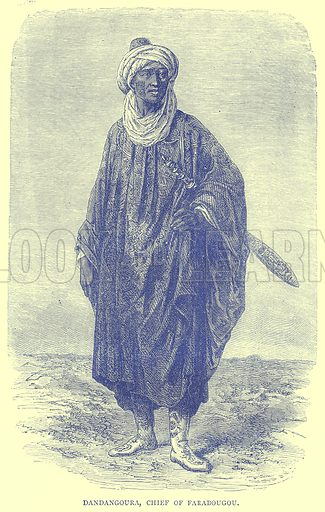 Dandangoura, Chief of Farabougou. Illustration from Illustrated Travels edited by H W Bates (Cassell, c 1880).