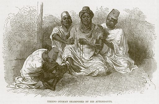 Tierno Ousman Shampooed by his Attendants. Illustration from Illustrated Travels edited by HW Bates (Cassell, c 1880).