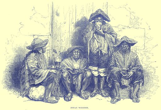 Indian Workmen. Illustration from Illustrated Travels edited by H W Bates (Cassell, c 1880).