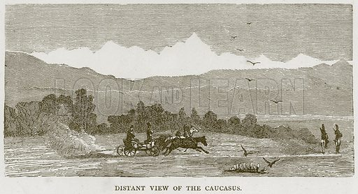 Distant View of the Caucasus. Illustration from Illustrated Travels edited by H W Bates (Cassell, c 1880).