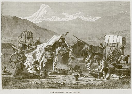 Gipsy Encampment in the Caucasus. Illustration from Illustrated Travels edited by HW Bates (Cassell, c 1880).