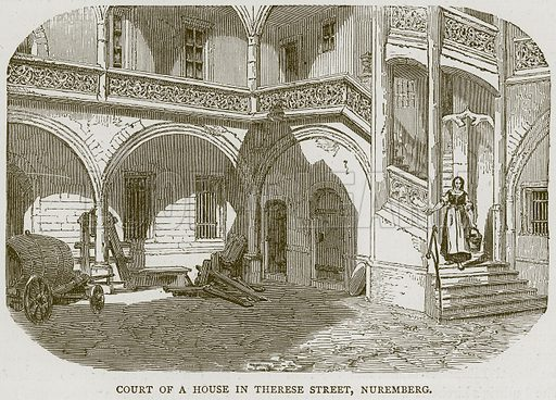 Court of a House in Therese Street, Nuremberg. Illustration from Illustrated Travels edited by HW Bates (Cassell, c 1880).