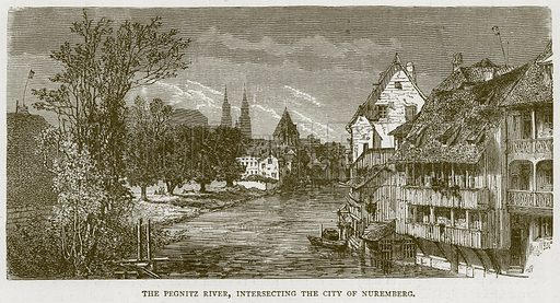 The Pegnitz River, Intersecting the City of Nuremberg. Illustration from Illustrated Travels edited by H W Bates (Cassell, c 1880).
