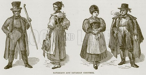 Bavarians and Bavarian Costumes. Illustration from Illustrated Travels edited by H W Bates (Cassell, c 1880).