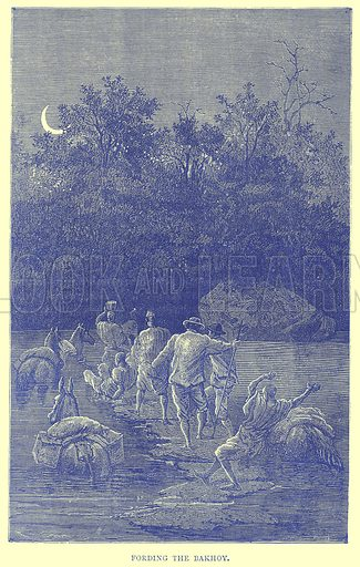 Fording the Bakhoy. Illustration from Illustrated Travels edited by H W Bates (Cassell, c 1880).