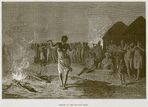 Dances of the Malinke Tribe. Illustration from Illustrated Travels edited by H W Bates (Cassell, c 1880).
