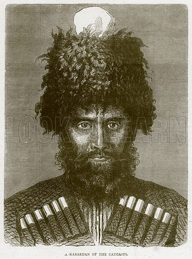 A Kabardan of the Caucasus. Illustration from Illustrated Travels edited by HW Bates (Cassell, c 1880).
