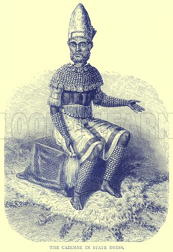 The Cazembe in State Dress. Illustration from Illustrated Travels edited by H W Bates (Cassell, c 1880).