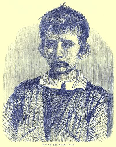 Boy of the Nogai Tribe. Illustration from Illustrated Travels edited by H W Bates (Cassell, c 1880).
