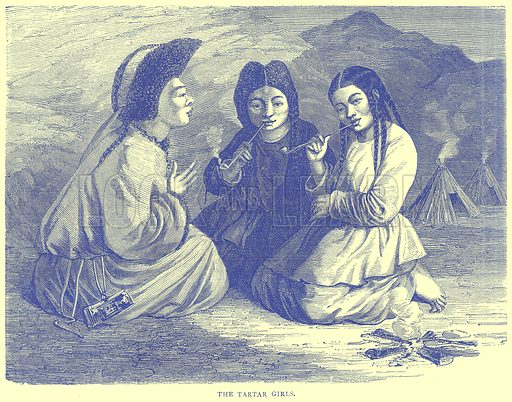 The Tartar Girls. Illustration from Illustrated Travels edited by H W Bates (Cassell, c 1880).