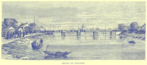 Bridge at Soo-Chow. Illustration from Illustrated Travels edited by H W Bates (Cassell, c 1880).