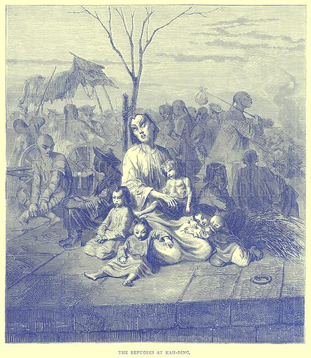 The Refugees at Kah-Ding. Illustration from Illustrated Travels edited by H W Bates (Cassell, c 1880).