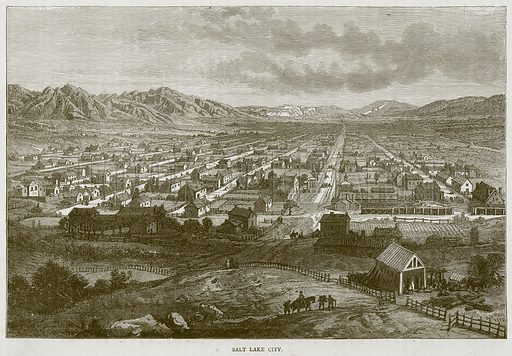 Salt Lake City. Illustration from Illustrated Travels edited by H W Bates (Cassell, c 1880).