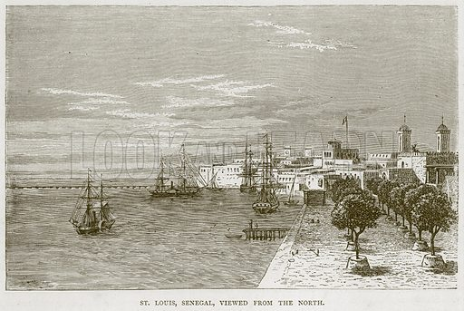 St Louis, Senegal, Viewed from the North. Illustration from Illustrated Travels edited by HW Bates (Cassell, c 1880).