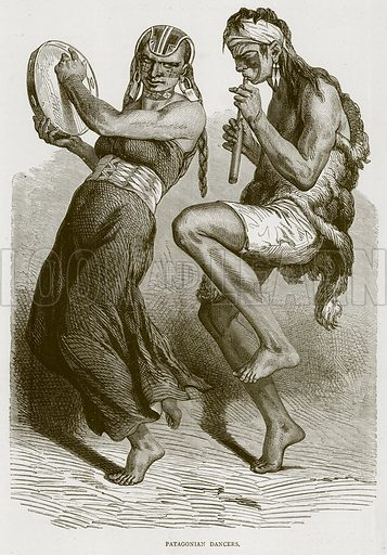 Patagonian Dancers. Illustration from Illustrated Travels edited by HW Bates (Cassell, c 1880).