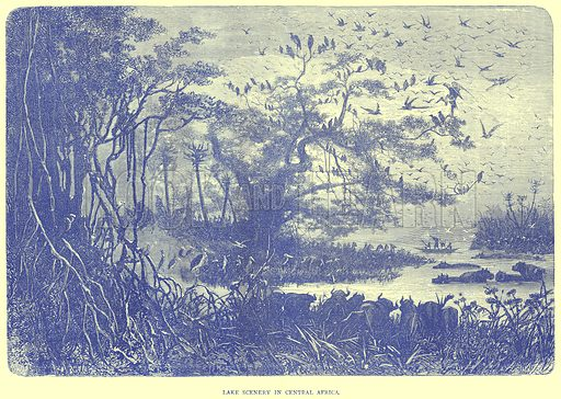 Lake Scenery in Central Africa. Illustration from Illustrated Travels edited by H W Bates (Cassell, c 1880).