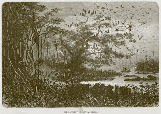 Lake Scenery in Central Africa. Illustration from Illustrated Travels edited by HW Bates (Cassell, c 1880).